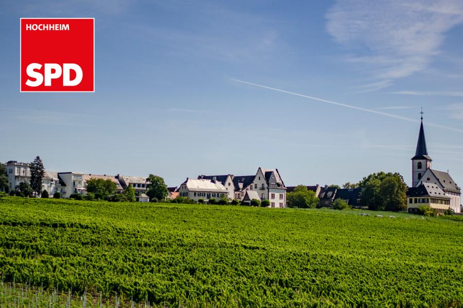 Panorama von Hochheim am Main mit Logo SPD Hochheim